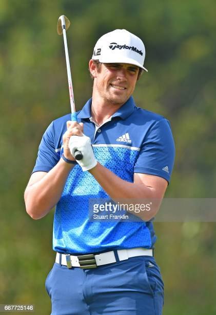 Nacho Elvira of Spain reacts to a shot during the pro am prior to the Trophee Hassan II at Royal Golf Dar Es Salam on April 12 2017 in Rabat Morocco