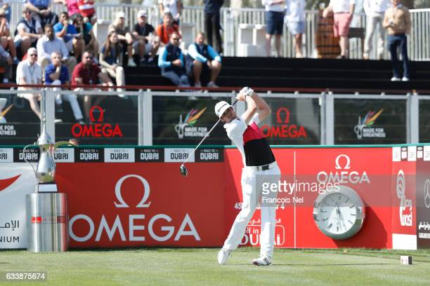 Nacho Elvira of Spain tees off on the 1st hole during the final round of the Omega Dubai Desert Classic at Emirates Golf Club on February 5 2017 in...
