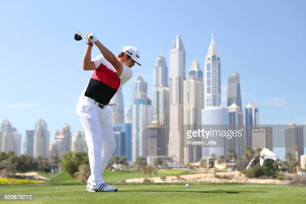 Nacho Elvira of Spain tees off on the 8th hole during the final round of the Omega Dubai Desert Classic at Emirates Golf Club on February 5 2017 in...