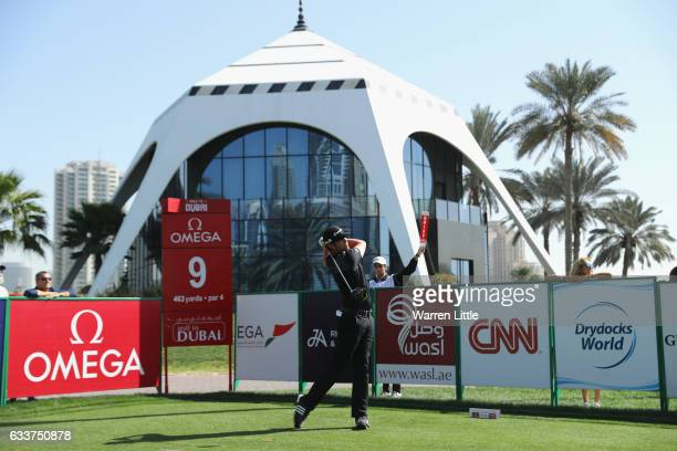 Nacho Elvira of Spain tees off on the ninth hole during the completion of the weather delayed second round of the Omega Dubai Desert Classic on the...