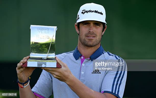 Nacho Elvira of Spain with the 2016 Challenge Tour Graduate of the Year award pictured during a practice round prior to the Omega Dubai Desert...