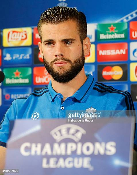 Nacho Fernandez of Real Madrid attends a press conference at Valdebebas training ground onat Malmö Stadion prior to the UEFA Champions League between...