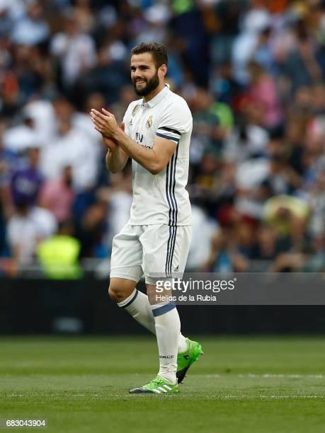 Nacho Fernandez of Real Madrid celebrates after scoring during the La Liga match between Real Madrid and Sevilla FC at Estadio Santiago Bernabeu on...