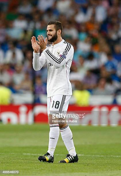 Nacho Fernandez of Real Madrid celebrates after scoring during the UEFA Champions League group B match between Real Madrid and FC Basel 1893 at...