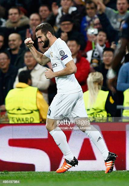 Nacho Fernandez of Real Madrid celebrates as he scores their first goal during the UEFA Champions League Group A match between Real Madrid CF and...