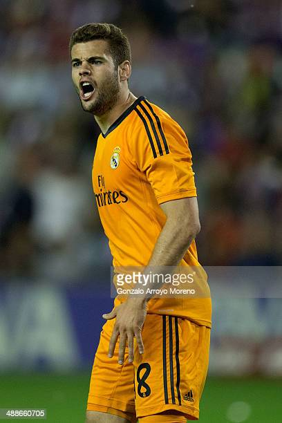 Nacho Fernandez of Real Madrid CF protests to the referee during the La Liga match between Real Valladolid CF and Real Madrid CF at Estadio Jose...