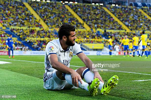 Nacho Fernandez of Real Madrid CF reacts on the pitch during the La Liga match between UD Las Palmas and Real Madrid CF on September 24 2016 in Las...