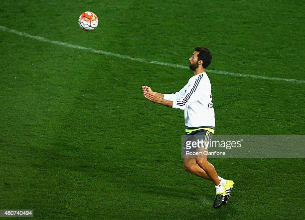 Nacho Fernandez of Real Madrid controls the ball during Real Madrid training session at Melbourne Cricket Ground on July 15 2015 in Melbourne...