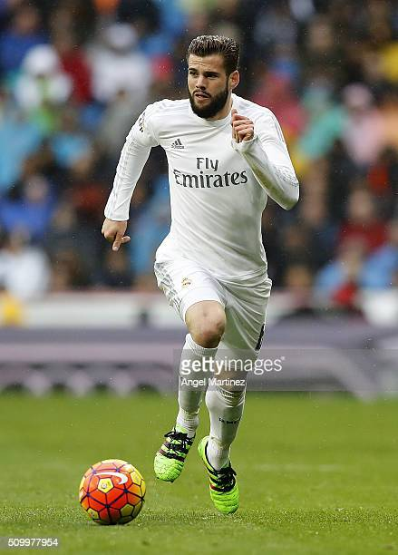 Nacho Fernandez of Real Madrid in action during the La Liga match between Real Madrid CF and Athletic Club at Estadio Santiago Bernabeu on February...