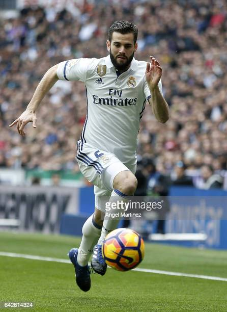 Nacho Fernandez of Real Madrid in action during the La Liga match between Real Madrid and RCD Espanyol at Estadio Santiago Bernabeu on February 18...