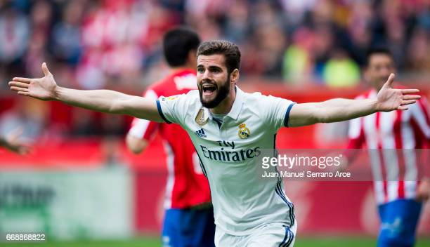Nacho Fernandez of Real Madrid reacts during the La Liga match between Real Sporting de Gijon and Real Madrid at Estadio El Molinon on April 15 2017...