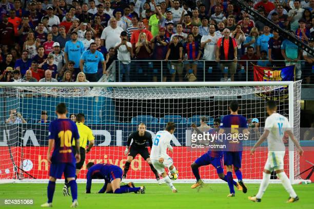 Nacho Fernandez of Real Madrid scores a goal in the first half against Barcelona during their International Champions Cup 2017 match at Hard Rock...