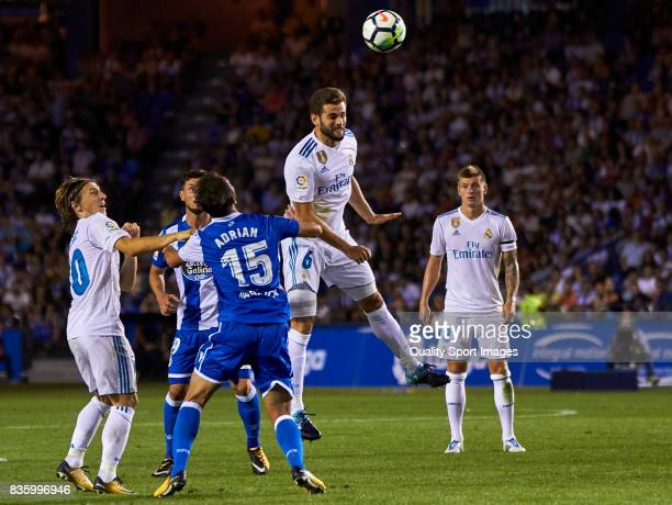 Nacho Fernandez of Real Madrid wins a header during the La Liga match between Deportivo La Coruna and Real Madrid at Riazor Stadium on August 20 2017...