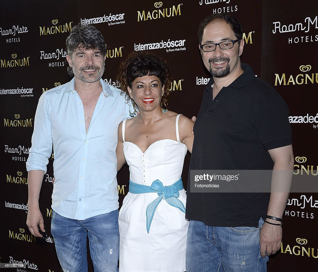 Nacho Guerreros, Cristina Medina and Jordi Sanchez attend the 'Chocolate Opening Party By Magnum' at the Room Mate Oscar Hotel on June 26, 2014 in Madrid, Spain.