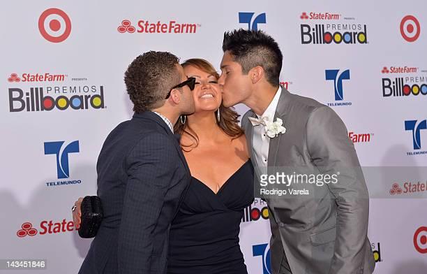 Nacho Jenni Rivera and Chino arrive at the Billboard Latin Music Awards 2012 at Bank United Center on April 26 2012 in Miami Florida