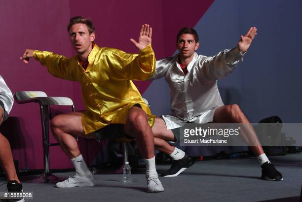 Nacho Monreal and Emiliano Martinez attend an Arsenal Fan Party at the Manderain Oriental Hotel on July 17 2017 in Shanghai
