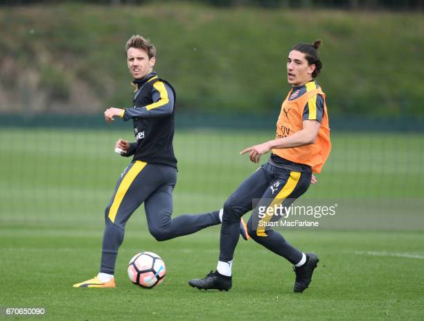 Nacho Monreal and Hector Bellerin of Arsenal during a training session at London Colney on April 20 2017 in St Albans England
