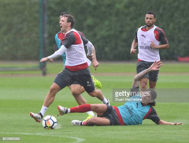 Nacho Monreal and Hector Bellerin of Arsenal during a training session at London Colney on July 26 2017 in St Albans England