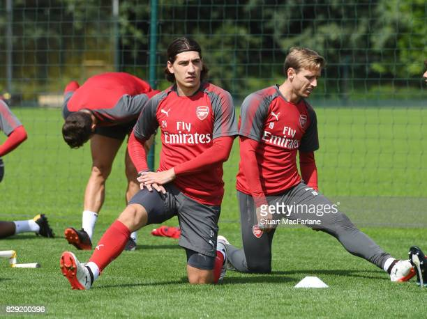 Nacho Monreal and Hector Bellerin of Arsenal during a training session at London Colney on August 10 2017 in St Albans England