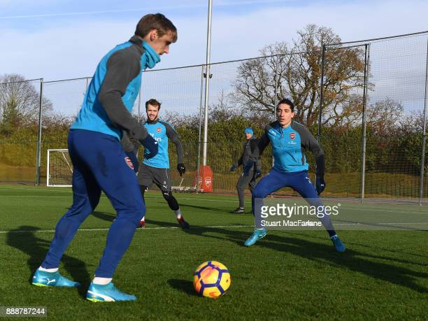 Nacho Monreal and Hector Bellerin of Arsenal during a training session at London Colney on December 9 2017 in St Albans England