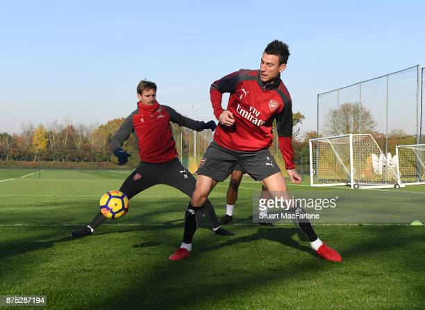 Nacho Monreal and Laurent Koscielny of Arsenal during a training session at London Colney on November 17 2017 in St Albans England
