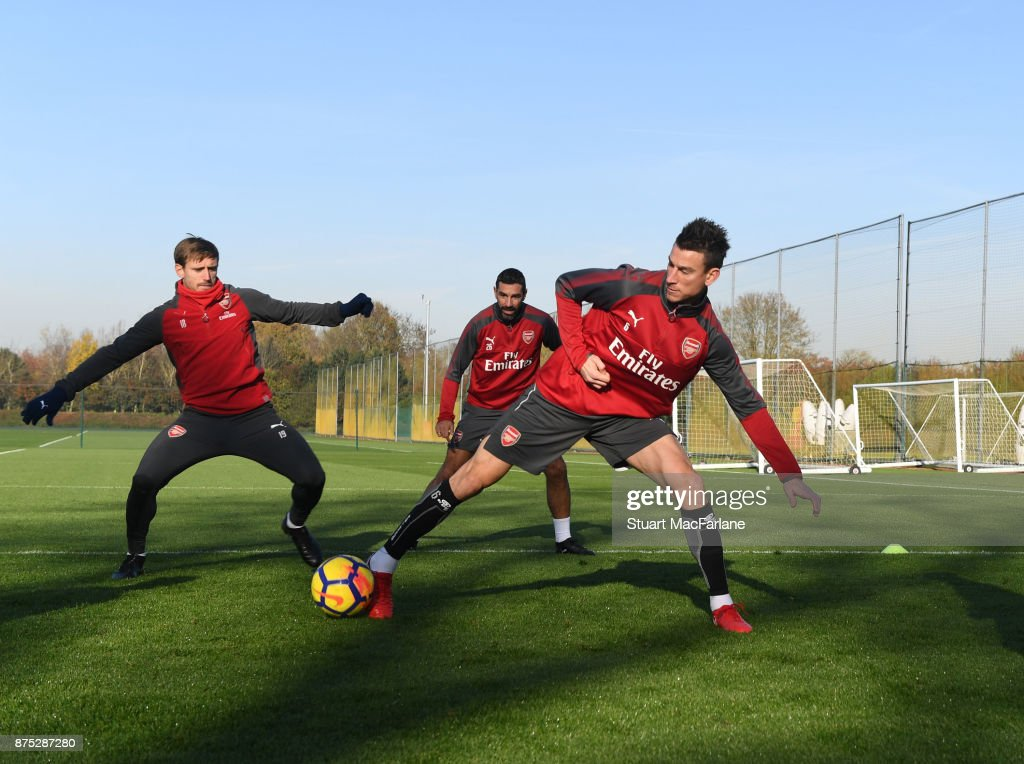Nacho Monreal and Laurent Koscielny of Arsenal during a training session at London Colney on November 17, 2017 in St Albans, England.