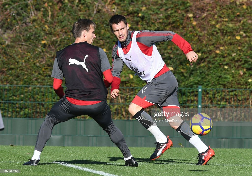 Nacho Monreal and Mathieu Debuchy of Arsenal during a training session at London Colney on October 27, 2017 in St Albans, England.