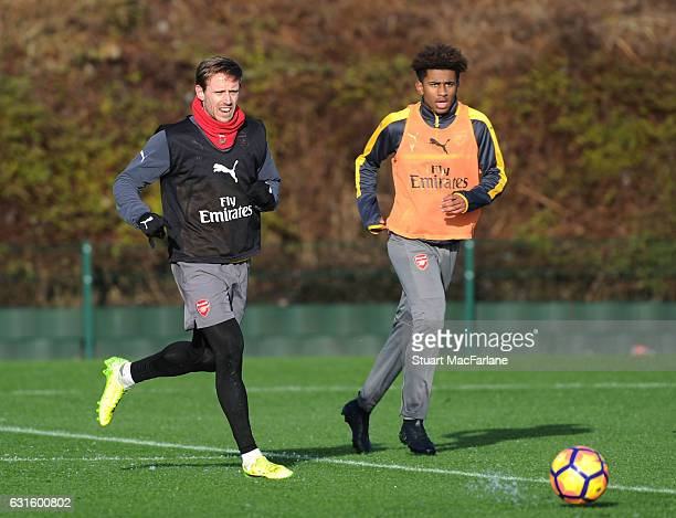 Nacho Monreal and Reiss Nelson of Arsenal during a training session at London Colney on January 13 2017 in St Albans England