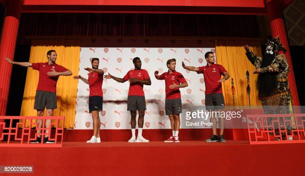 Nacho Monreal Danny Welbeck Petr Cech Granit Xhaka and Olivier Giroud of Arsenal during a Puma Chinese Kit Opera event in Pangu 7 Star Hotel on July...