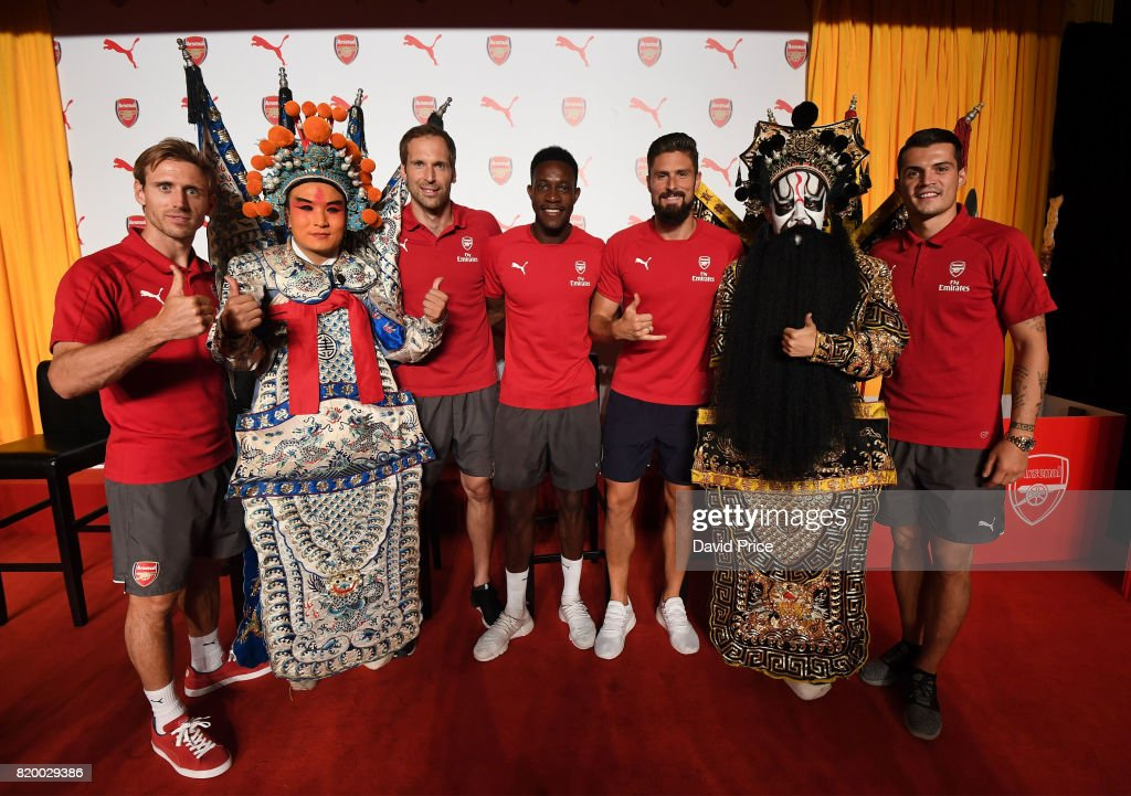 Nacho Monreal, Danny Welbeck, Petr Cech, Granit Xhaka and Olivier Giroud of Arsenal during a Puma Chinese Kit Opera event in Pangu 7 Star Hotel on July 21, 2017 in Beijing, China.