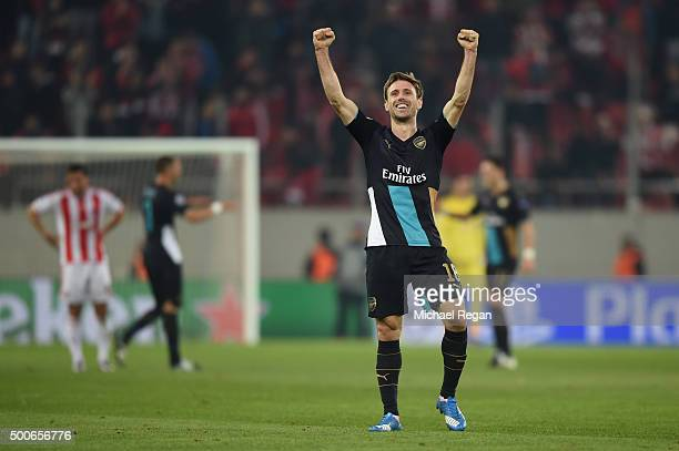 Nacho Monreal of Arsenal celebrates at the end of the UEFA Champions League Group F match between Olympiacos FC and Arsenal FC at Karaiskakis Stadium...
