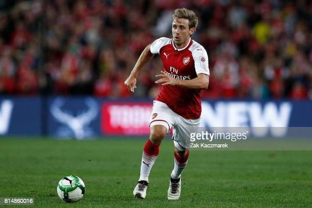 Nacho Monreal of Arsenal controls the ball during the match between the Western Sydney Wanderers and Arsenal FC at ANZ Stadium on July 15 2017 in...