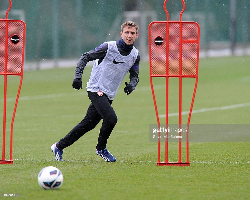 Nacho Monreal of Arsenal during a training session at London Colney on March 15, 2013 in St Albans, England.