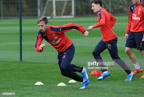 Nacho Monreal of Arsenal during a training session at London Colney on October 23 2015 in St Albans England