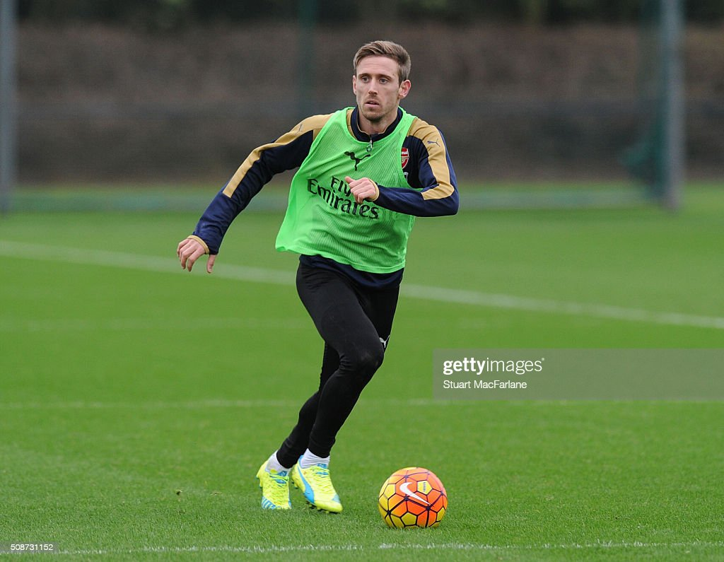 <a gi-track='captionPersonalityLinkClicked' href=/galleries/search?phrase=Nacho+Monreal&family=editorial&specificpeople=4078049 ng-click='$event.stopPropagation()'>Nacho Monreal</a> of Arsenal during a training session at London Colney on February 6, 2016 in St Albans, England.