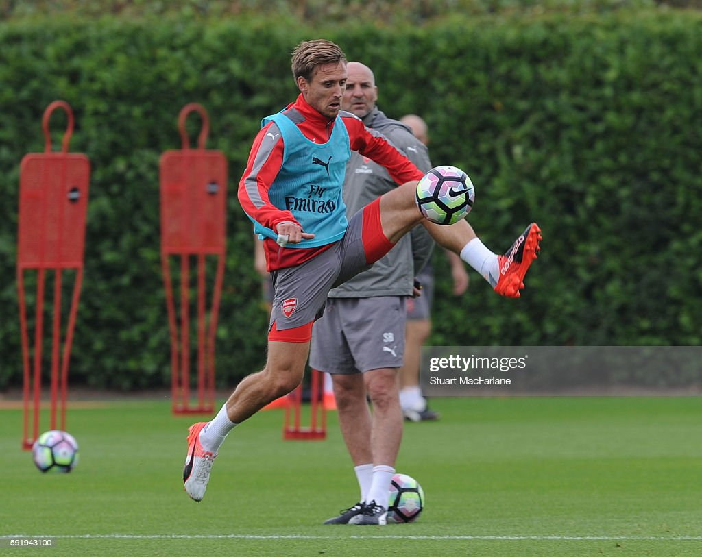 Nacho Monreal of Arsenal during a training session at London Colney on August 19 2016 in St Albans England