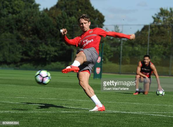 Nacho Monreal of Arsenal during a training session at London Colney on September 23 2016 in St Albans England