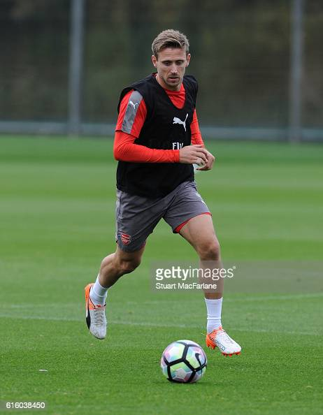 Nacho Monreal of Arsenal during a training session at London Colney on October 21 2016 in St Albans England