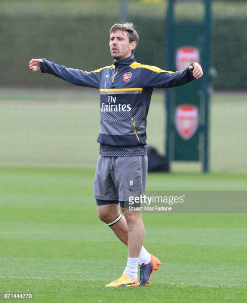 Nacho Monreal of Arsenal during a training session at London Colney on April 22 2017 in St Albans England