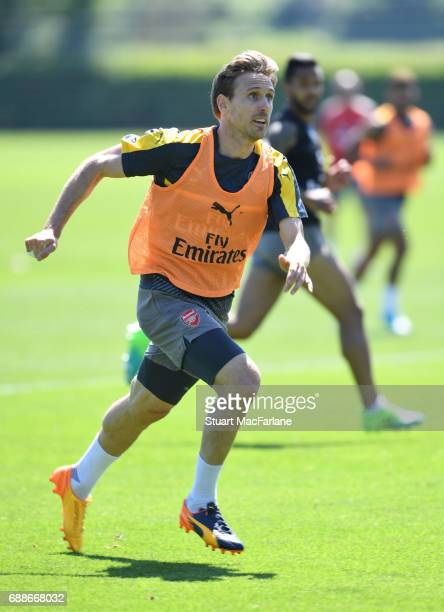 Nacho Monreal of Arsenal during a training session at London Colney on May 26 2017 in St Albans England