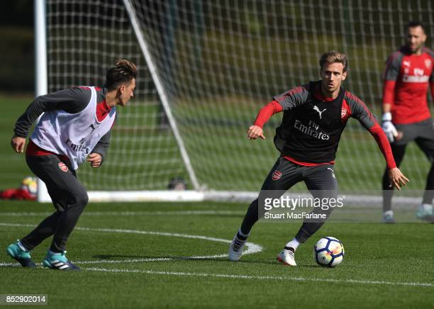 Nacho Monreal of Arsenal during a training session at London Colney on September 24 2017 in St Albans England