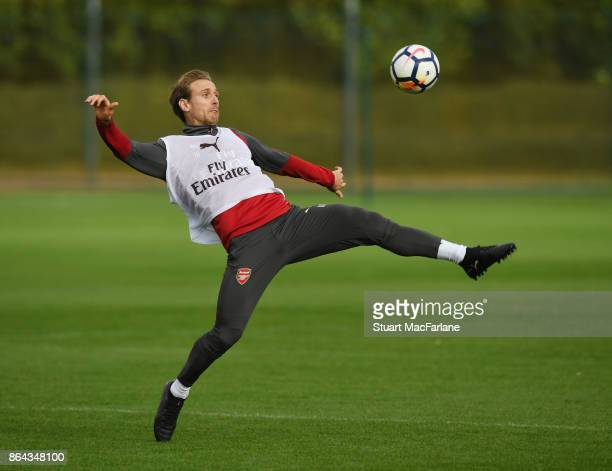 Nacho Monreal of Arsenal during a training session at London Colney on October 21 2017 in St Albans England