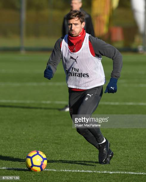 Nacho Monreal of Arsenal during a training session at London Colney on November 17 2017 in St Albans England