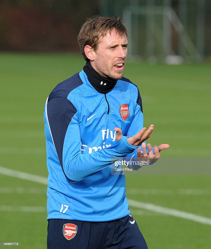 Nacho Monreal of Arsenal during Arsenal Training Session at London Colney on January 23, 2014 in St Albans, England.