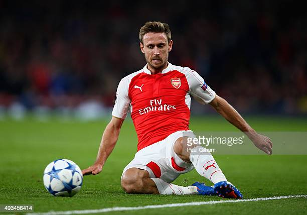 Nacho Monreal of Arsenal in action during the UEFA Champions League Group F match between Arsenal FC and FC Bayern Munchen at Emirates Stadium on...
