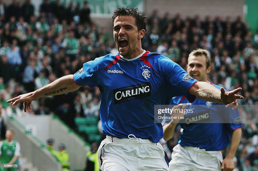 Nacho Novo of Rangers celebrates scoring their winning goal during the Bank of Scotland Scottish Premier League match between Hibernian and Rangers at Easter Road Stadium on May 22, 2005 in Edinburgh, Scotland.