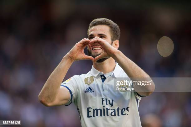 Nacho of Real Madrid celebrates after scoring Real's 3rd goal during the La Liga match between Real Madrid CF and Deportivo Alaves on April 2 2017 in...