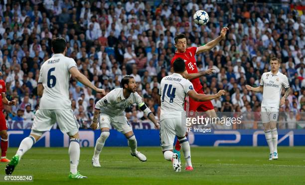 Nacho Sergio Ramos Casemiro of Real Madrid and Robert Lewandowski of Bayern Muenchen battle for the ball during the UEFA Champions League Quarter...