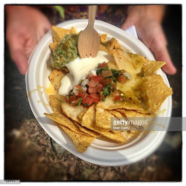 Nachos for £6 for sale from the Mexican Food Stall is seen at the Glastonbury Festival on June 29 2014 in Glastonbury England Gates opened on...