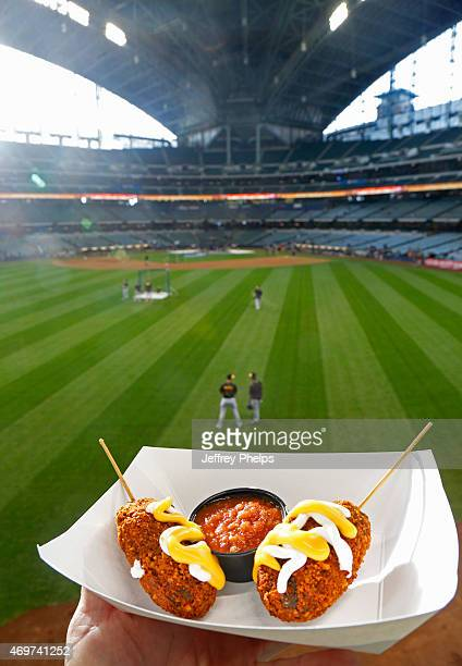 Nachos on a stick are shown before a game between the Milwaukee Brewers and Pittsburgh Pirates at Miller Park on April 10 2015 in Milwaukee Wisconsin...